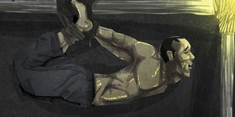 llustration einer Foltermethode, wie sie von den Sicherheitskräften angewandt wird. © AI