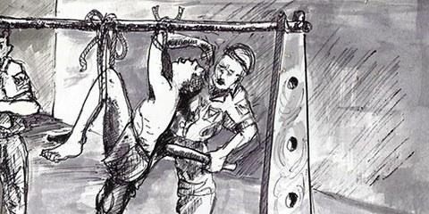 Szenen des Grauens: Diese auf Zeugenaussagen basierende Zeichnung zeigt eine Foltersituation in Nigeria. © Chijioke Ugwu Clement