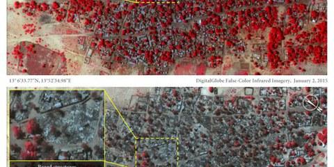 Die Satellitenbilder zeigen die Ortschaft Doron Baga vor und nach den Angriffen durch Boko Haram und belegen die massive Zerstörung. | © DigitalGlobe