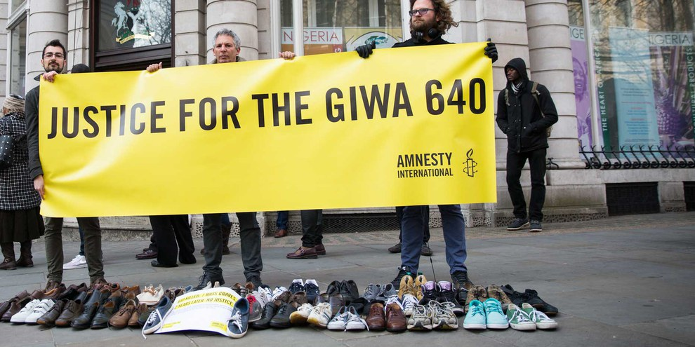 Weltweit wurde Gerechtigkeit für die Angehörigen des Massakers von Giwa gefordert, so auch in London. © Amnesty International