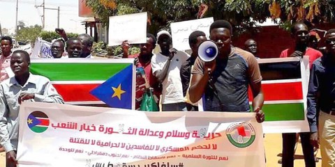 Protestierende der Red Card Movement in Khartum, Sudan am 16 Mai 2019. © Private
