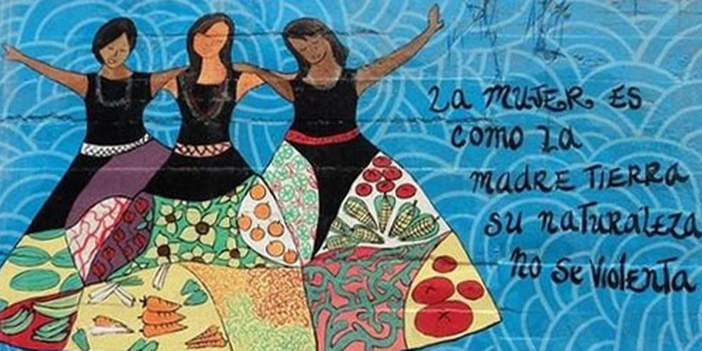 Mauermalerei in den Strassen von Mocoa: Die Frau ist wie Mutter Erde. Ihre Natur darf nicht vergewaltigt werden. © UNHCR/L.Badillo