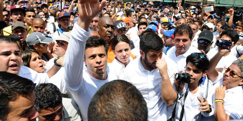 Oppositionsführer Leopoldo López bei einer Kundgebung am 18. Februar 2014 © Manaure Quintero