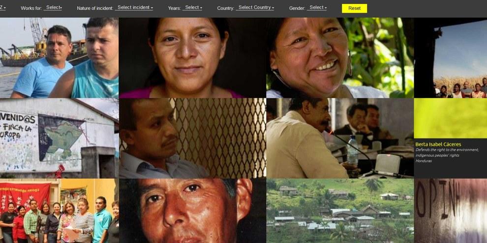 Gesichter von Menschen, die sich für Menschenrechte und die Umwelt einsetzen: Die Online-Plattform «Speak out for defenders» stellt sie und ihr Engagement vor. © Amnesty International