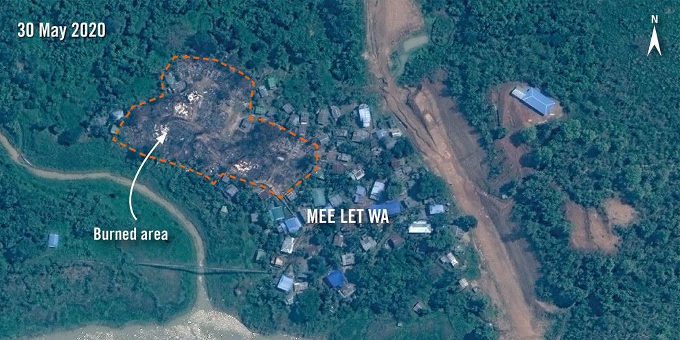 Satellitenbilder vom 30. Mai 2020 zeigen, dass ein grosser Teil des Dorfes Mee Let Wa im Bundesstaat Chin zerstört ist. © 2020 Maxar Technologies