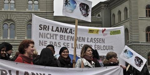 Übergabe der Sri Lanka-Petition am 14. November in Bern. © Philippe Lionnet