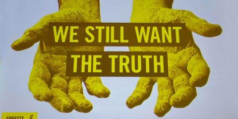 Bild der Kampagne zugunsten der Verschwundenen in Sri Lanka, März 2015. © Amnesty International