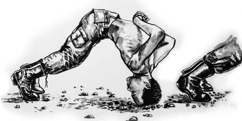 Der «head dip» ist eine der missbräuchlichen Strafmassnahmen: Rekruten werden gezwungen, die Position mit dem Kopf auf hartem Boden für eine halbe Stunde lang zu halten. © Wana Wanlayangkoon