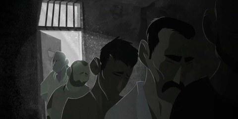 Bild aus dem animierten Film über das Gefängnis Saydnaya : In solchen Gefängnissen in Syrien wurden Tausende Gefangene systematisch gefoltert und hingerichtet. © Cesare Davolio/Amnesty International