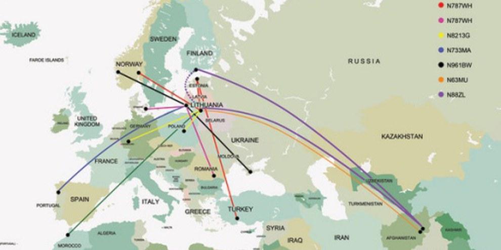«Folter-Taxi»: CIA-Flüge nach Litauen. © AI
