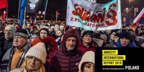 Am 1. Dezember 2019 demonstrierten Menschen in ganz Polen ihre Solidarität mit RichterInnen und StaatsanwältInnen, die ungerechten Disziplinarverfahren ausgesetzt waren.  © Grzegorz Żukowski