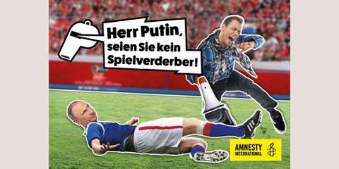 Amnesty International Schweiz führte während der WM 2018 eine Kampagne zum Schutz von MenschenrechtsverteidigerInnen in Russland. © AI