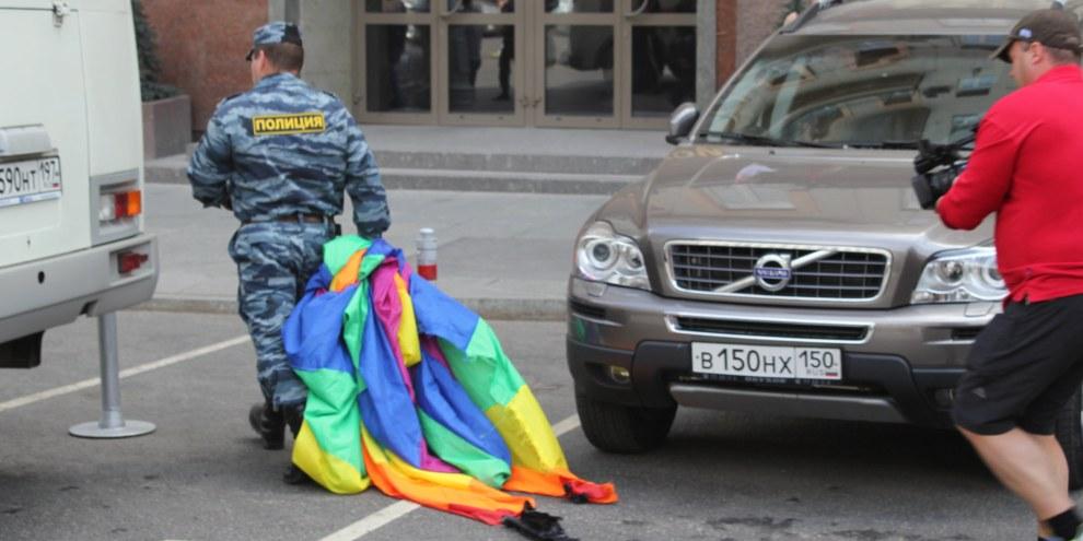 An der Moskauer Pride 2012 nahm die Polizei 40 LGBTI*-AktivistInnen fest. Seither konnte diese Veranstaltung in der Hauptstadt nicht mehr stattfinden. © Amnesty International