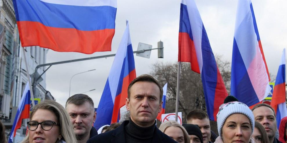 Alexei Navalny nimmt an einem Marsch zu Ehren von Boris Nemzow am 29. Februar 2020 in Russland teil  © Kirill KUDRYAVTSEV / AFP
