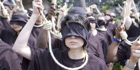 Protestaktion: Die Todesstrafe ist immer falsch. © AI
