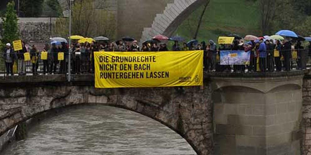 Aktion an der GV 2014 in Bern. © Philippe Lionnet