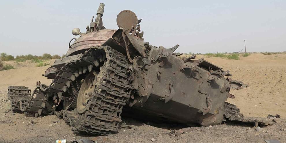 Zerstörter Panzer in Jemen. © Amnesty International