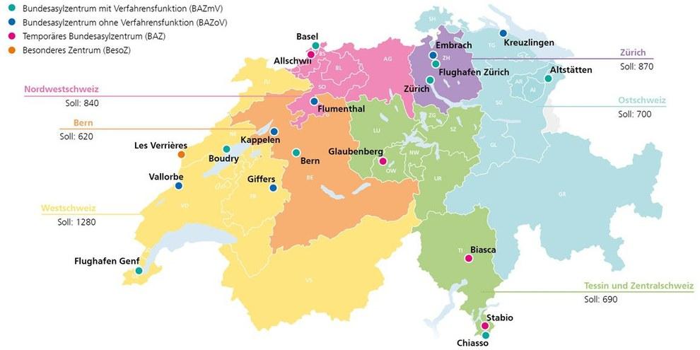 Die Bundesasylzentren in den sechs Regionen © SEM (www.sem.admin.ch)