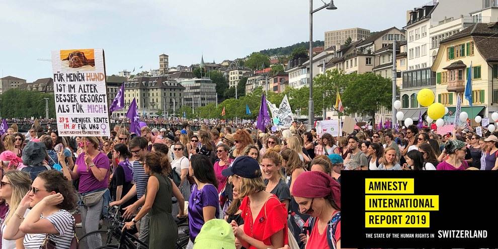 Eine der grössten Mobilisierungen der Schweizer Geschichte: der Frauenstreik 2019. © Amnesty International