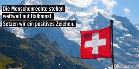 «Die Fremde Richter-Initiative der SVP ist ein Angriff auf die Menschenrechte.» Titelbild des Flyers, der an 2,5 Millionen Schweizer Haushalte geht. © AICH