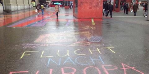 Für eine humanitäre Fluchtlingspolitik: Aktion von Amnesty Youth auf dem Bahnhofplatz Bern vom 15./16. April. © Amnesty International