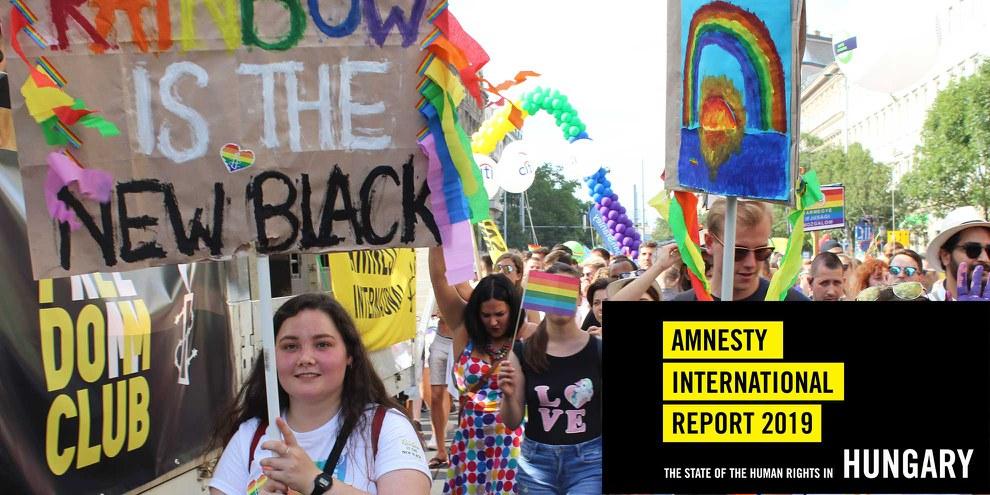 Wer im Juli 2019 an der Pride in Budapest teilnahm, musste mit verbalen oder tätlichen Angriffen rechnen. © Amnesty Ungarn