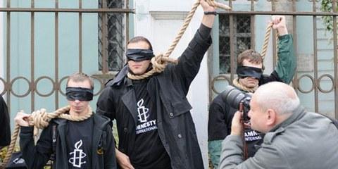Strassenaktion gegen die Todesstrafe in Weissrussland, Oktober 2009. © AI