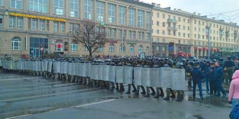 Das massive Polizeiaufgebot bei den Protesten in Minsk vom 25. März 2017. © Спадар Бурак