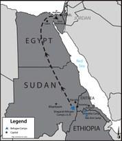 Diese Karte zeigt eine Route des Menschenhandels in Eritrea, Sudan und Ägypten.