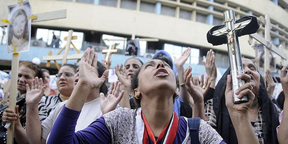 Koptische Christinnen demonstrieren im Mai 2011 in Kairo. © Tahsin Bakr/Demotix