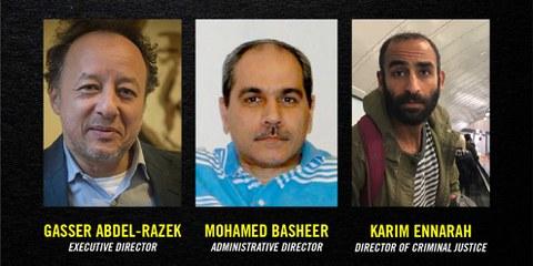 Die drei Mitarbeiter der Organisation EIPR wurden auf Kaution freigelassen, aber sie sind weiterhin angeklagt. Amnesty International fordert, dass sich die Schweiz auch öffentlich für die Menschenrechtsverteidiger einsetzt. © AI/EIPR
