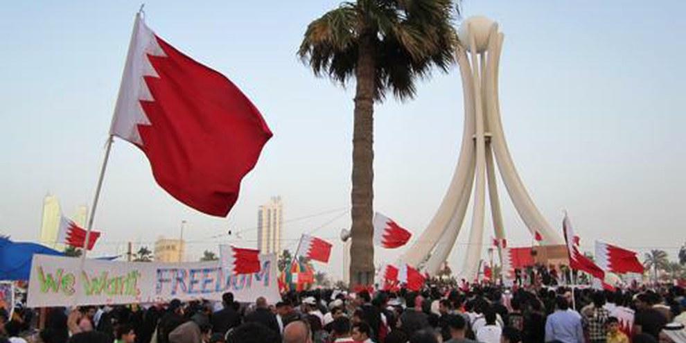 Demonstration auf dem zentralen Perl-Platz in Manama © Amnesty International