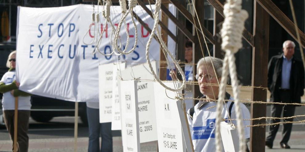 Protest von Amnesty Deutschland gegen die Hinrichtung Jugendlicher im Iran © Amnesty International/Bilan