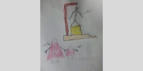 Eine Zeichnung von Mohanna Ahmadi, der Tochter des sunnitischen Gefangenen Hamed Ahmadi, der am 4. März 2015 mit fünf anderen Männern hingerichtet wurde. © Privat