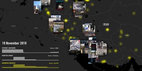 Karte der Proteste im Iran © Amnesty International