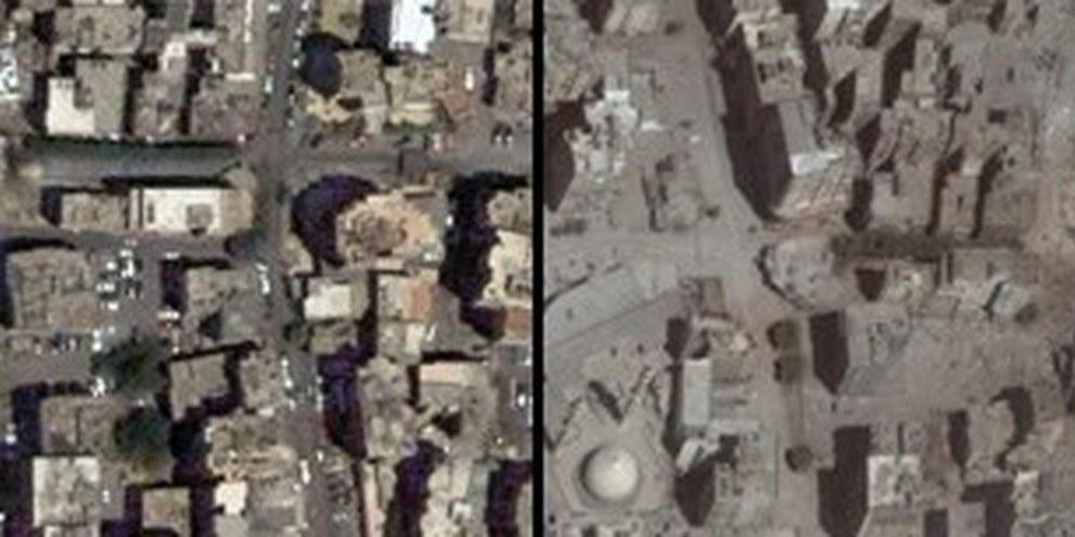 Stadtteil von Beirut Juni und August 2006 © Digital Globe, Inc.