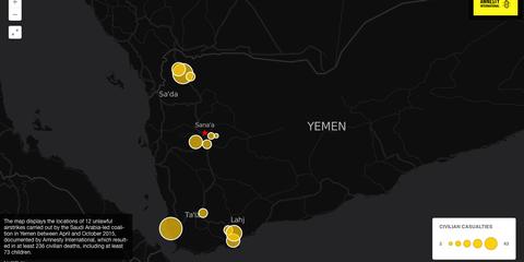 Karte mit 12 von Amnesty dokumentierten, völkerrechtswidrigen Luftangriffen der saudischen Koalition
