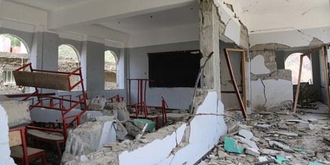 Diese Schule in Taiz wurde von Raketen der von Saudi-Arabien angeführten Koalition zerstört. © Akramalrasny / shutterstock