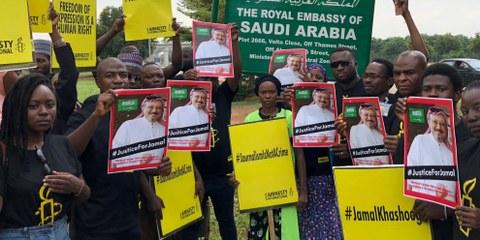 Solidaritätsaktion vor der saudischen Botschaft in Abuja, Oktober 2018 © Amnesty International Nigeria