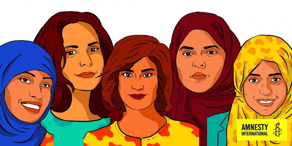 Diese Frauen sind im Gefängnis, weil sie sich für Frauenrechte eingesetzt haben. Die Schweiz schliesst sich einem Aufruf, die Frauen freizulassen, nicht an. © AI