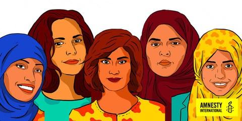 Diese Frauen sind im Gefängnis, weil sie sich für Frauenrechte eingesetzt haben.  © AI