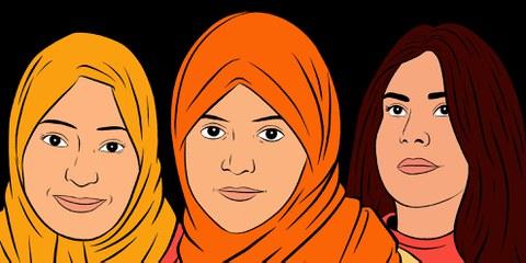 Samar Badawi, Nassima al-Sada und Loujain al-Hathloul (v.l.n.r) sind seit zwei Jahren im Gefängnis, weil sie sich für die Rechte saudischer Frauen engagiert haben. © Amnesty International