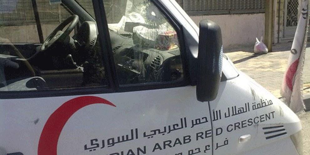 Auf die Ambulanz des Roten Halbmonds wurde am 7. September 2011 geschossen. © Privat