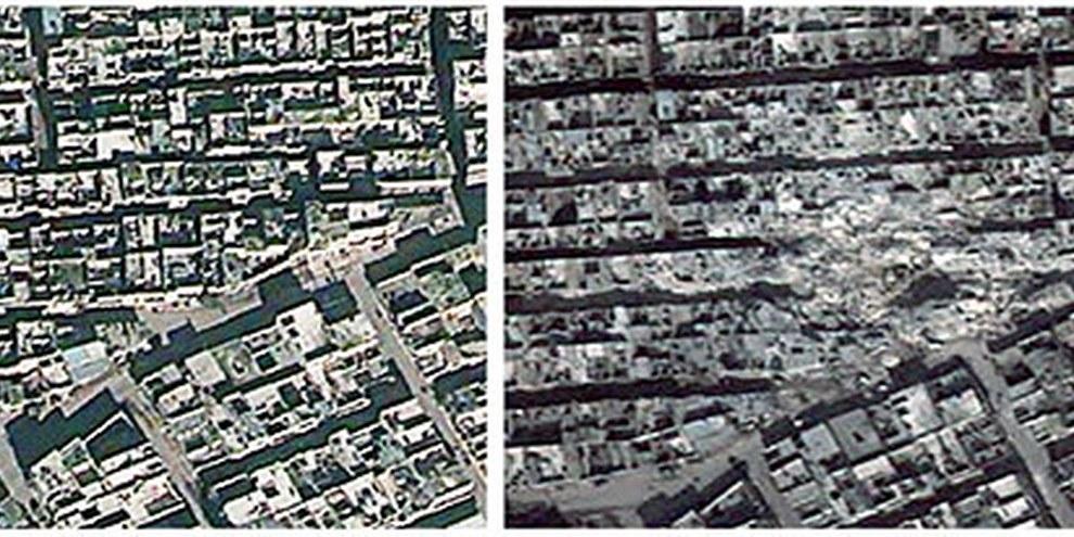 Die Bezirke Ard al-Hamra and Tariq al-Bab in Aleppo. Bei einem Doppelangriff am 22. Februar 2013 starben dort mindestens 117 Menschen. © 2013 DigitalGlobe (December 15, 2012); Atrium (February 24, 2013). Analysis by AAAS