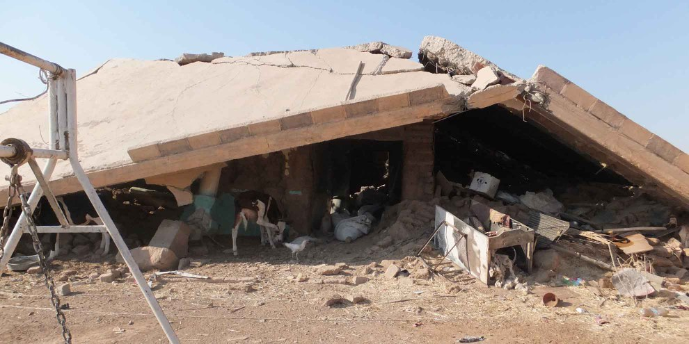 Nur noch Trümmer: Das Dorf Husseinija im Nordosten Syriens. © Amnesty International
