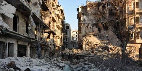 Das zerstörte Quartier Bustan al-Basha in Aleppo, 28. November 2016. Die syrische Armee versucht, den gesamten Stadtteil von den Rebellen zurückzuerobern. AFP/Getty Images