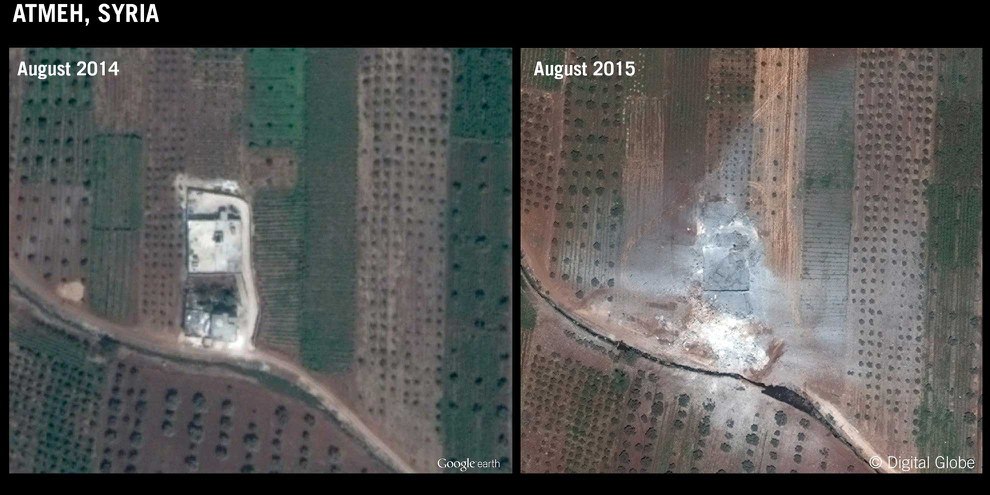 Luftangriff auf Atmeh/Idlib, 11. Aug ust 2015: Ein Haus, in welchem sich zwei IS-Kämpfer befanden, und zwei von Zivilisten bewohnte Häuser wurden zerstört. © DigitalGlobe/Google Earth. Graphic produced by Amnesty International