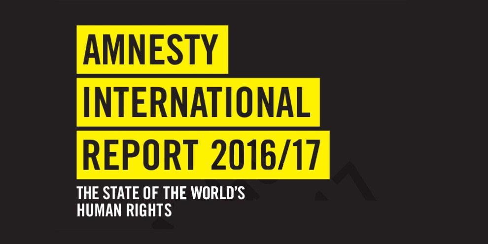 Der Amnesty International Report 2017/17 behandelt die Menschenrechtslage in 159 Ländern weltweit. Der Bericht zu Syrien ist angesichts der zahlreichen Menschenrechtsverstösse und Kriegsverbrechen sehr lang geworden. © AI