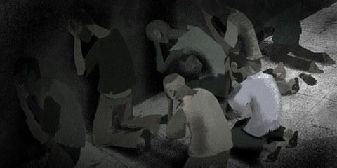 Tausende von Gefangenen nachts gehängt