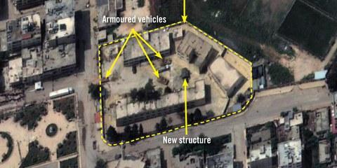 Dieses Satellitenbild zeigt die Amir Ghabari-Schule in Afrin, die gemäss ehemaligen Lehrern den türkischen Truppen und verbündeten Milizen als Stützpunkt dient. © 2018 Digital Globe, Inc.